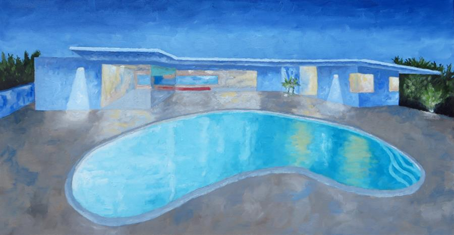 Original art for sale at UGallery.com | Classic Pool by Mitchell Freifeld | $1,175 | oil painting | 21' h x 40' w | ..\art\oil-painting-Classic-Pool