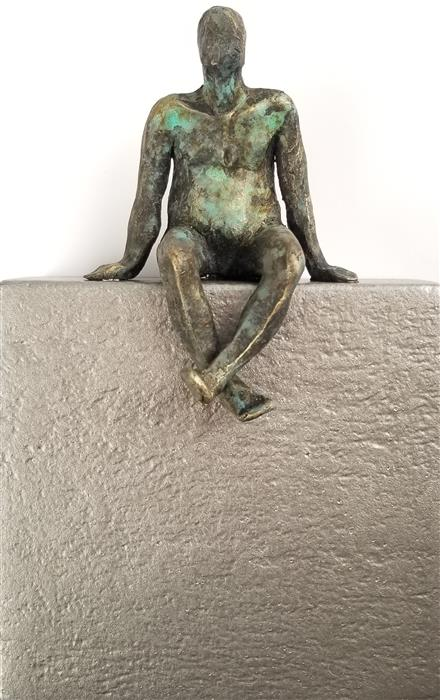 Original art for sale at UGallery.com | Small Being Sitting on Silver by Yelitza Diaz | $275 | mixed media artwork | 10.5' h x 7' w | ..\art\mixed-media-artwork-Small-Being-Sitting-on-Silver