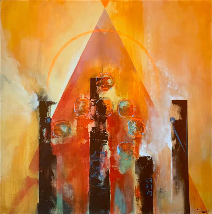 Original art for sale at UGallery.com | Messages from the Temple by Yamilet Sempe | $2,200 | acrylic painting | 36' h x 36' w | ..\art\acrylic-painting-Messages-from-the-Temple