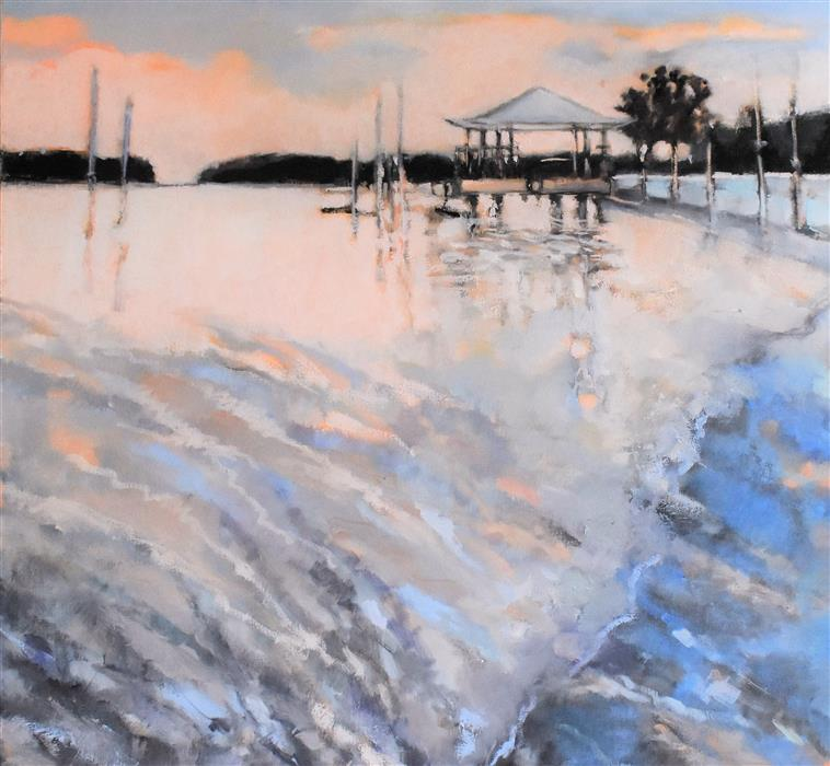 Original art for sale at UGallery.com | Tybee Sunset by Mary Pratt | $2,400 | oil painting | 36' h x 36' w | ..\art\oil-painting-Tybee-Sunset