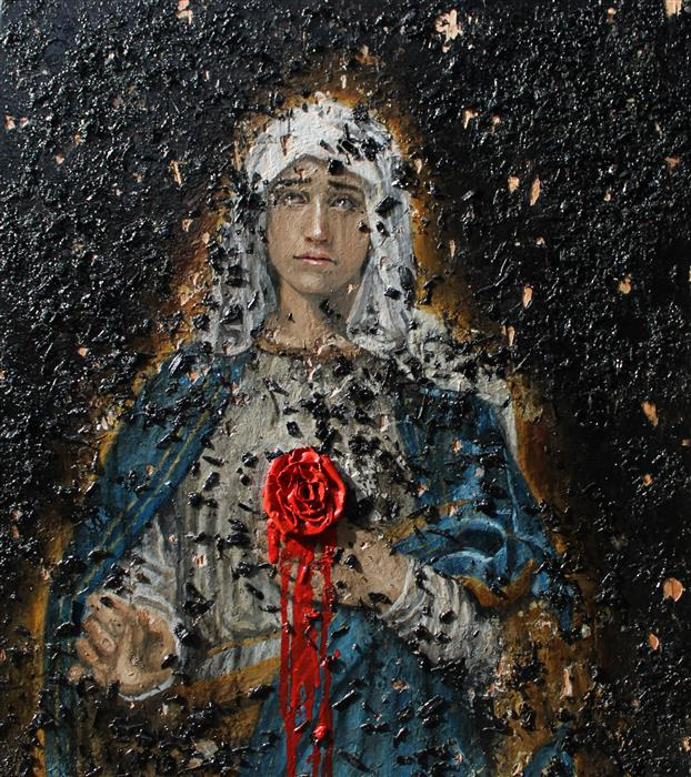 Original art for sale at UGallery.com | Stabat Mater Dolorosa by Seung Yim | $2,750 | oil painting | 23' h x 21' w | ..\art\oil-painting-Stabat-Mater-Dolorosa