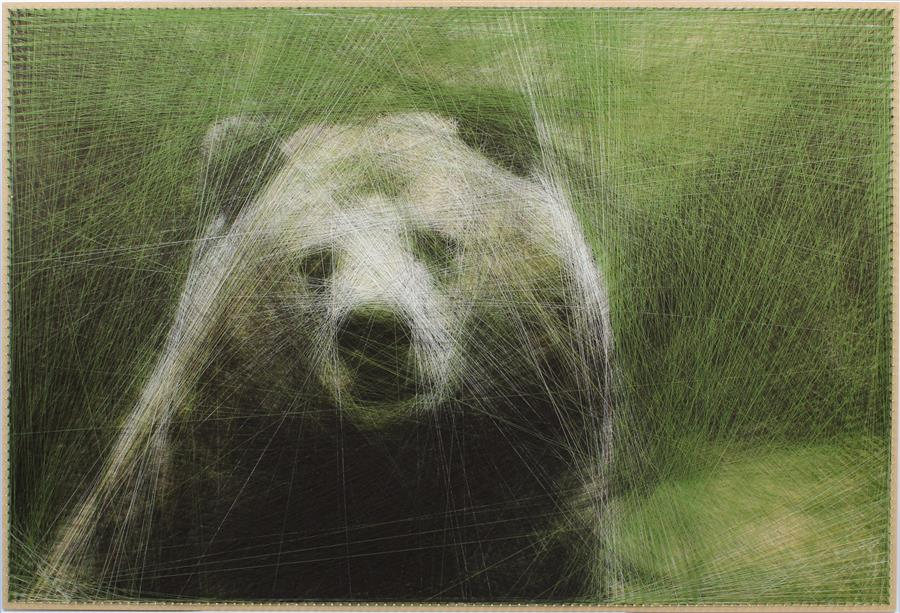 Original art for sale at UGallery.com | Cozy Bear by Ani and Andrew Abakumov | $5,800 | fiber artwork | 27' h x 40' w | ..\art\fiber-artwork-Cozy-Bear
