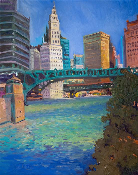 Original art for sale at UGallery.com | Chicago from the River, Midday by Suren Nersisyan | $1,200 | oil painting | 30' h x 24' w | ..\art\oil-painting-Chicago-from-the-River-Midday