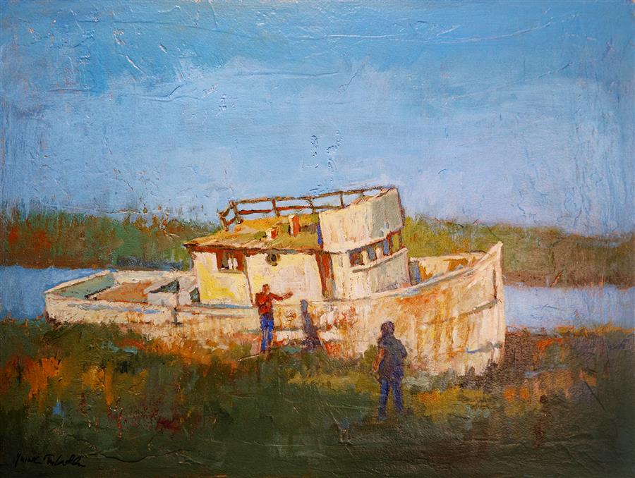 Original art for sale at UGallery.com | An Abandoned Boat in Inverness by Yuvak Tuladhar | $1,700 | acrylic painting | 24' h x 32' w | ..\art\acrylic-painting-An-Abandoned-Boat-in-Inverness