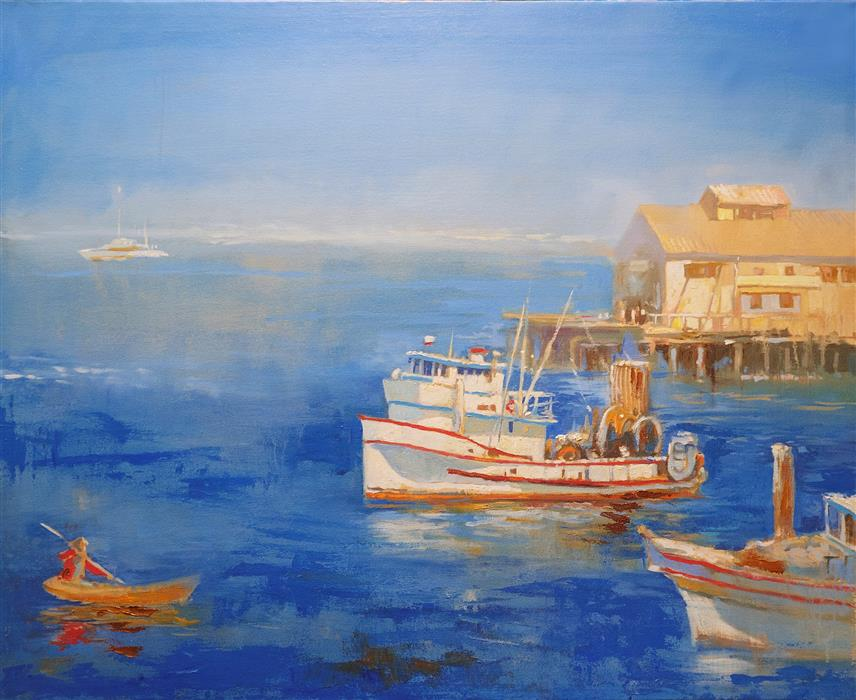 Original art for sale at UGallery.com | A Fishing Boat in Monterey Bay by Yuvak Tuladhar | $2,875 | oil painting | 32' h x 40' w | ..\art\oil-painting-A-Fishing-Boat-in-Monterey-Bay