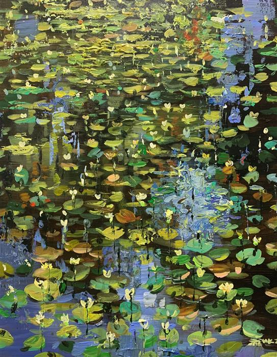 Original art for sale at UGallery.com | Water Garden 25 by Eric Alfaro | $700 | acrylic painting | 20' h x 16' w | ..\art\acrylic-painting-Water-Garden-25