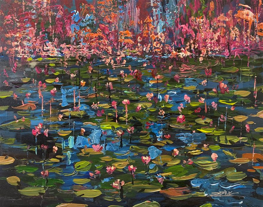 Original art for sale at UGallery.com | Water Garden 26 by Eric Alfaro | $700 | acrylic painting | 16' h x 20' w | ..\art\acrylic-painting-Water-Garden-26