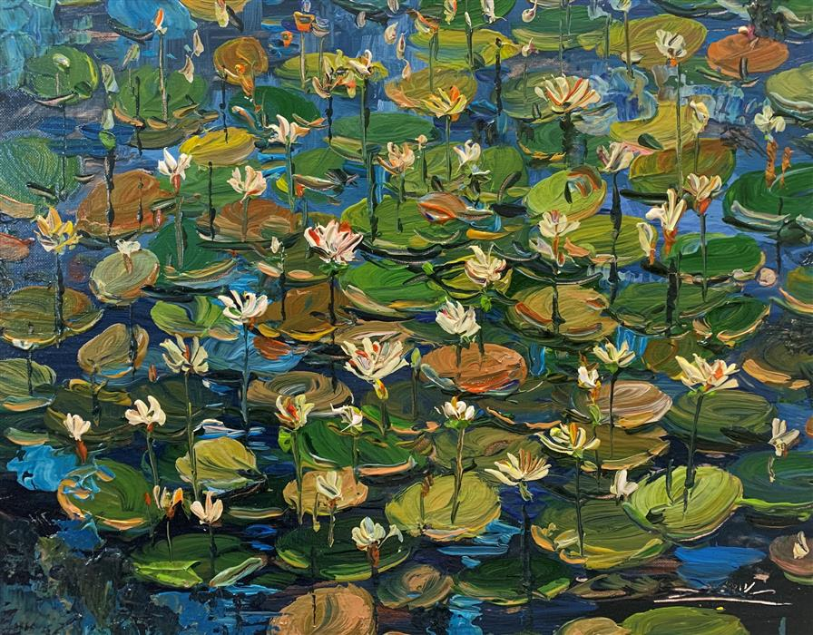 Original art for sale at UGallery.com | Water Garden 27 by Eric Alfaro | $700 | acrylic painting | 16' h x 20' w | ..\art\acrylic-painting-Water-Garden-27