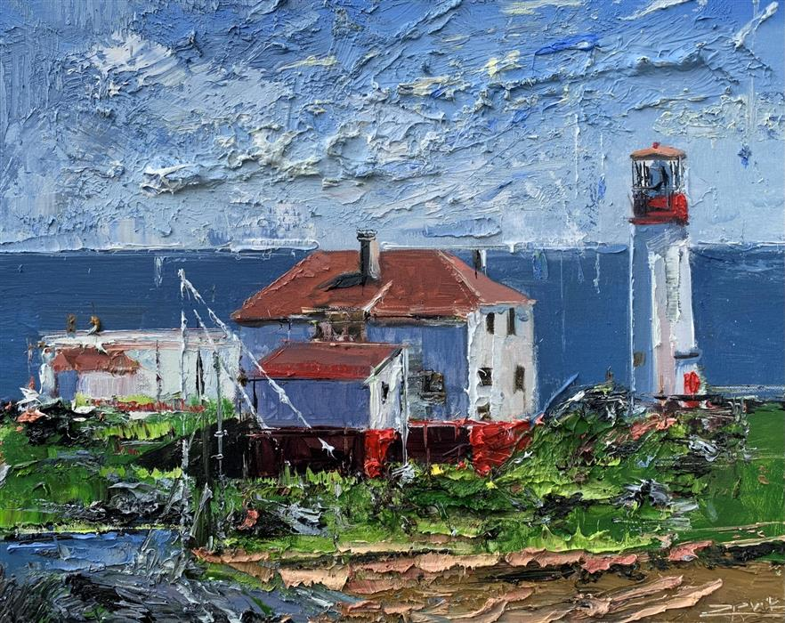 Original art for sale at UGallery.com | Lighthouse 31 by Eric Alfaro | $700 | oil painting | 16' h x 20' w | ..\art\oil-painting-Lighthouse-31
