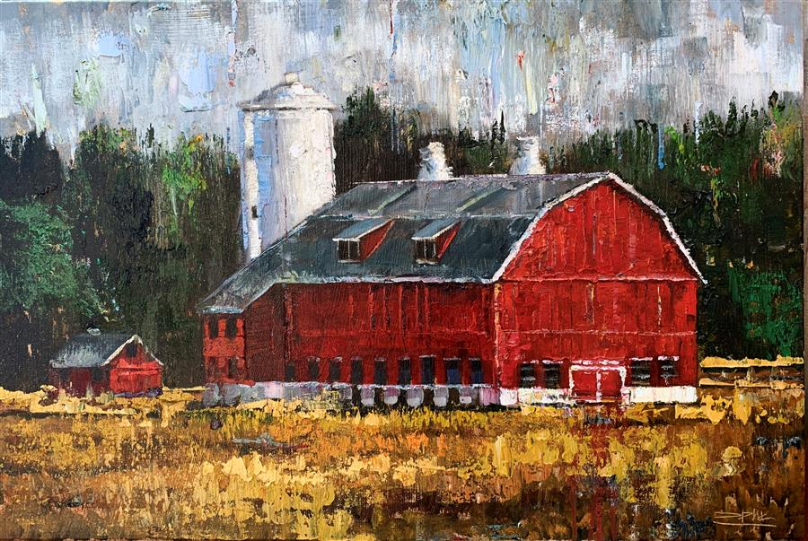 Original art for sale at UGallery.com | Red Barn 03 by Eric Alfaro | $975 | oil painting | 20' h x 30' w | ..\art\oil-painting-Red-Barn-03