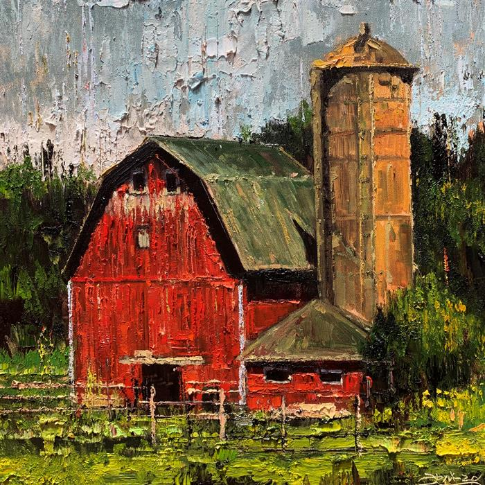 Original art for sale at UGallery.com | Red Barn 04 by Eric Alfaro | $850 | oil painting | 20' h x 20' w | ..\art\oil-painting-Red-Barn-04