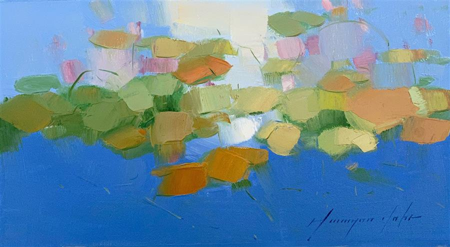 Original art for sale at UGallery.com | Pond by Vahe Yeremyan | $325 | oil painting | 7.5' h x 14' w | ..\art\oil-painting-Pond-70408