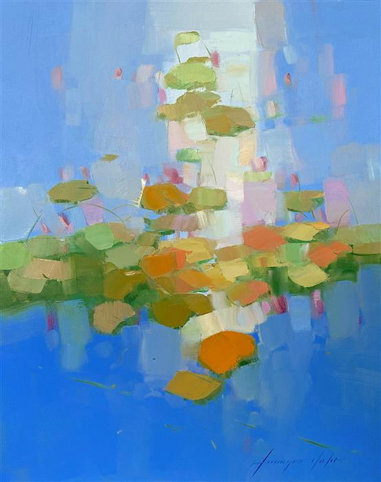 Original art for sale at UGallery.com   Waterlilies Garden by Vahe Yeremyan   $600   oil painting   20' h x 16' w   ..\art\oil-painting-Waterlilies-Garden