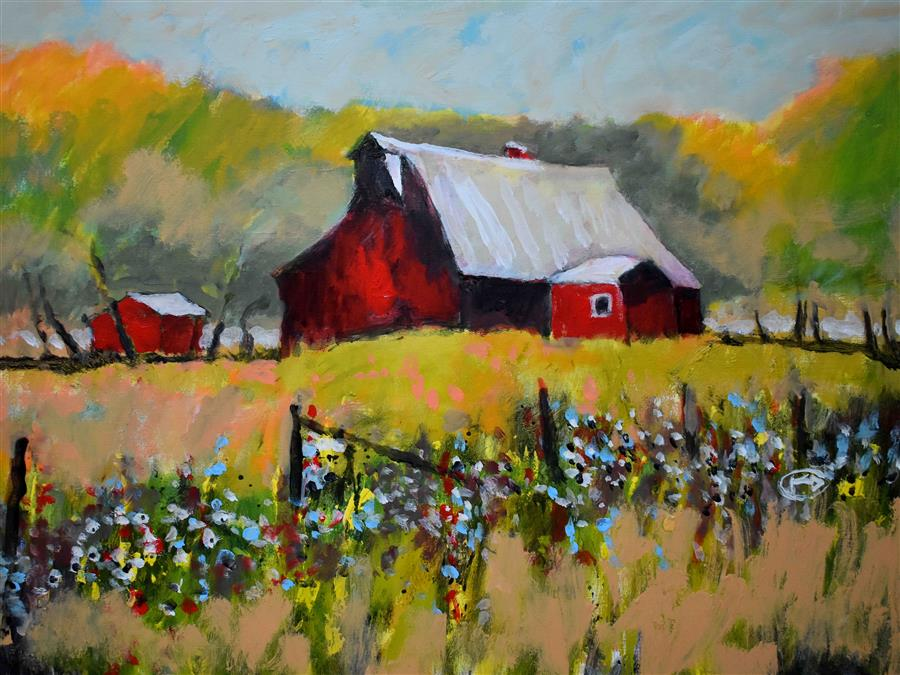 Original art for sale at UGallery.com | Farm Red by Kip Decker | $2,575 | acrylic painting | 30' h x 40' w | ..\art\acrylic-painting-Farm-Red