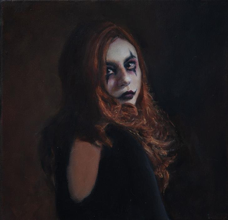 Original art for sale at UGallery.com | Pierrot Staring by John Kelly | $2,150 | oil painting | 12' h x 12' w | ..\art\oil-painting-Pierrot-Staring