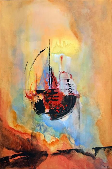 Original art for sale at UGallery.com | Sailing to Eternity by Yamilet Sempe | $1,150 | acrylic painting | 36' h x 24' w | ..\art\acrylic-painting-Sailing-to-Eternity