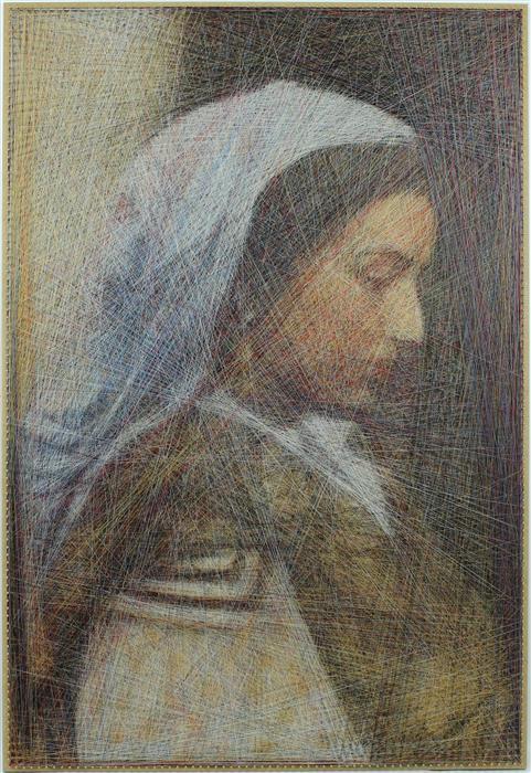 Original art for sale at UGallery.com | Italian Girl by Ani and Andrew Abakumov | $5,800 | fiber artwork | 40' h x 27' w | ..\art\fiber-artwork-Italian-Girl