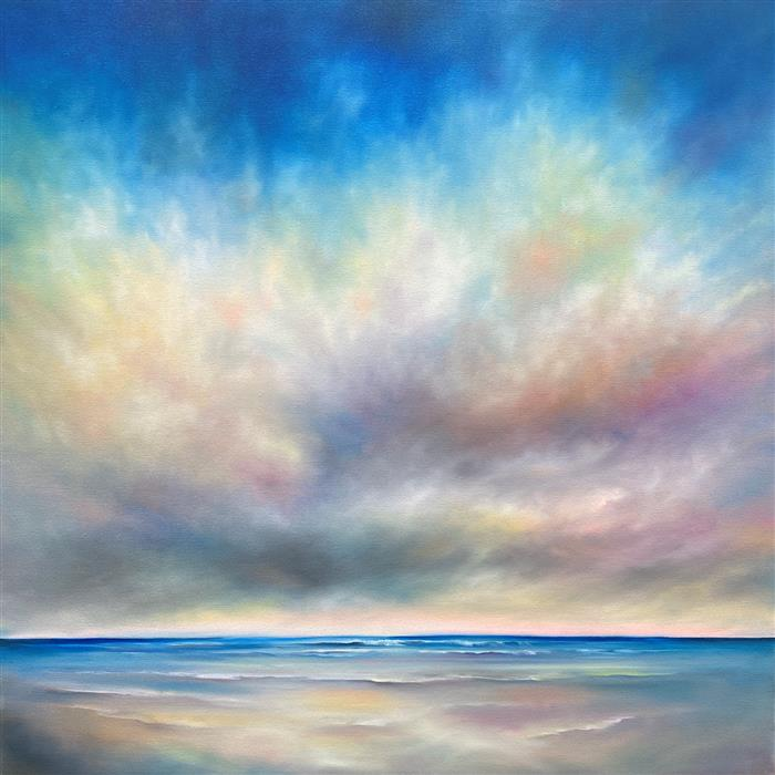 Original art for sale at UGallery.com | Beach Cloud Colors by Nancy Hughes Miller | $3,175 | oil painting | 40' h x 40' w | ..\art\oil-painting-Beach-Cloud-Colors