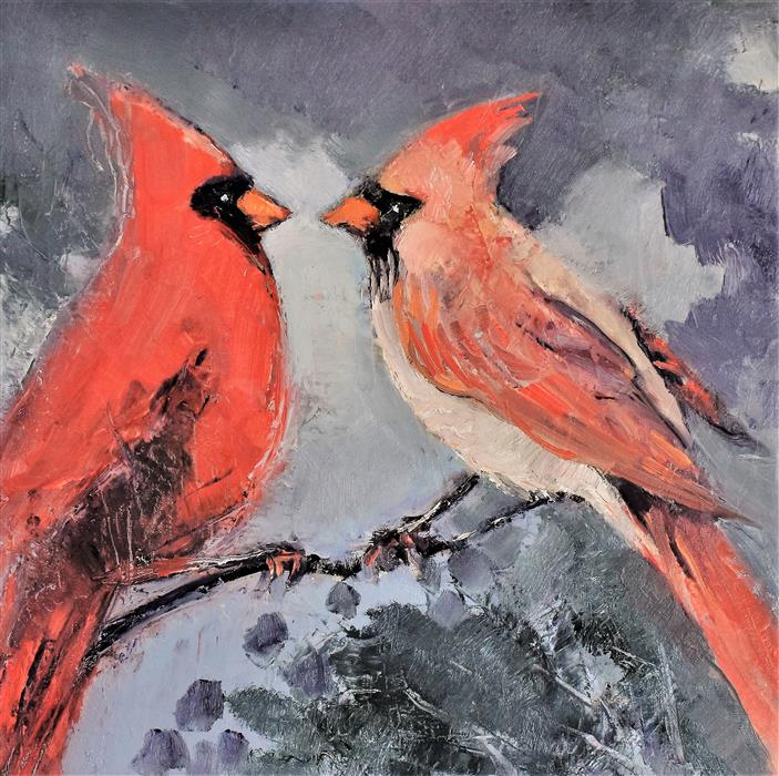 Original art for sale at UGallery.com   Wintering Together by Mary Pratt   $575   oil painting   12' h x 12' w   ..\art\oil-painting-Wintering-Together