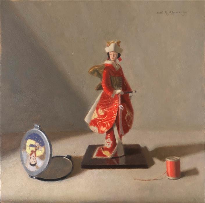 Original art for sale at UGallery.com | Japanese Elegance by Jose H. Alvarenga | $660 | oil painting | 12' h x 12' w | ..\art\oil-painting-Japanese-Elegance