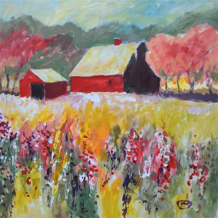 Original art for sale at UGallery.com | Red Barn near Orchard by Kip Decker | $2,100 | acrylic painting | 30' h x 30' w | ..\art\acrylic-painting-Red-Barn-near-Orchard