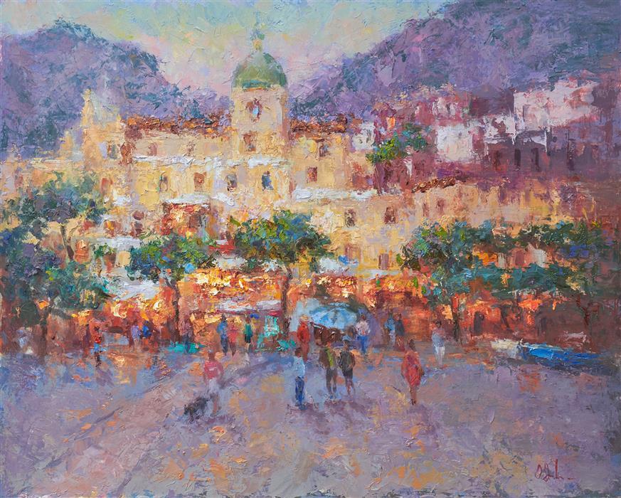 Original art for sale at UGallery.com | Positano Lights by Oksana Johnson | $1,400 | oil painting | 16' h x 20' w | ..\art\oil-painting-Positano-Lights