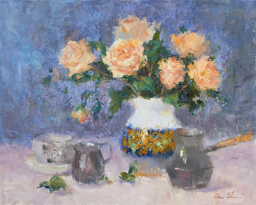 Original art for sale at UGallery.com | Yellow Roses and Italian Vase by Oksana Johnson | $1,200 | oil painting | 16' h x 20' w | ..\art\oil-painting-Yellow-Roses-and-Italian-Vase