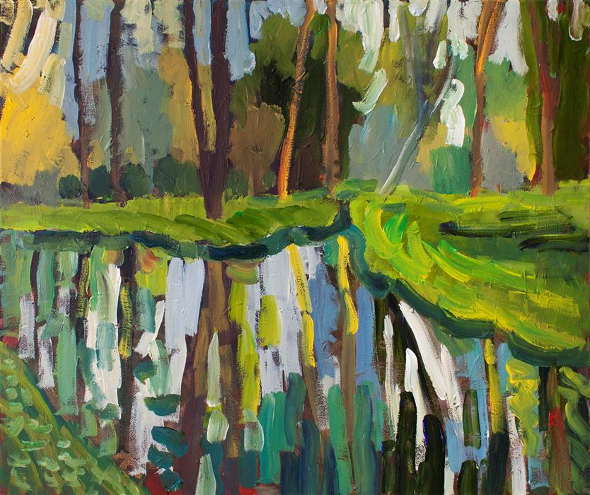 Original art for sale at UGallery.com | Spring Reflections by Robert Hofherr | $950 | acrylic painting | 20' h x 24' w | ..\art\acrylic-painting-Spring-Reflections