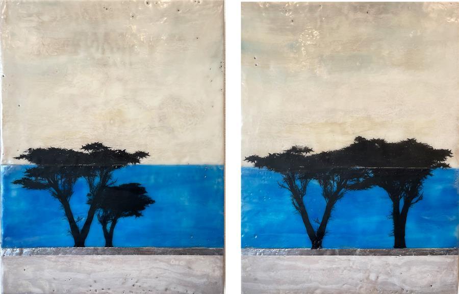 Original art for sale at UGallery.com | Pining for the Coast by Shari Lyon | $1,600 | encaustic artwork | 16' h x 24' w | ..\art\encaustic-artwork-Pining-for-the-Coast