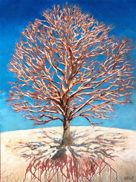 Original art for sale at UGallery.com | Oak Snow Shadows Roots by Elliot Coatney | $2,400 | acrylic painting | 48' h x 36' w | ..\art\acrylic-painting-Oak-Snow-Shadows-Roots
