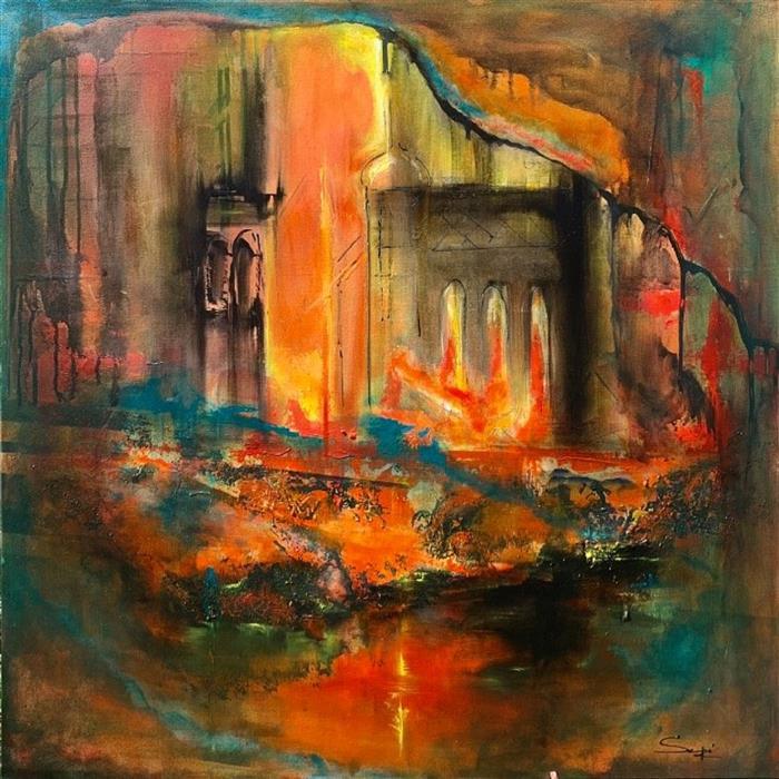Original art for sale at UGallery.com | Refuge of the Rose by Yamilet Sempe | $2,200 | mixed media artwork | 36' h x 36' w | ..\art\mixed-media-artwork-Refuge-of-the-Rose