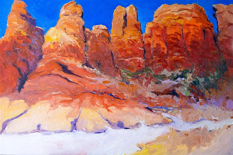 Original art for sale at UGallery.com | Red Rocks from Arizona Deserts by Suren Nersisyan | $1,700 | oil painting | 24' h x 36' w | ..\art\oil-painting-Red-Rocks-from-Arizona-Deserts