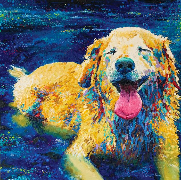 Original art for sale at UGallery.com | Lazy Dog Day by Jeff Fleming | $2,300 | oil painting | 36' h x 36' w | ..\art\oil-painting-Lazy-Dog-Day