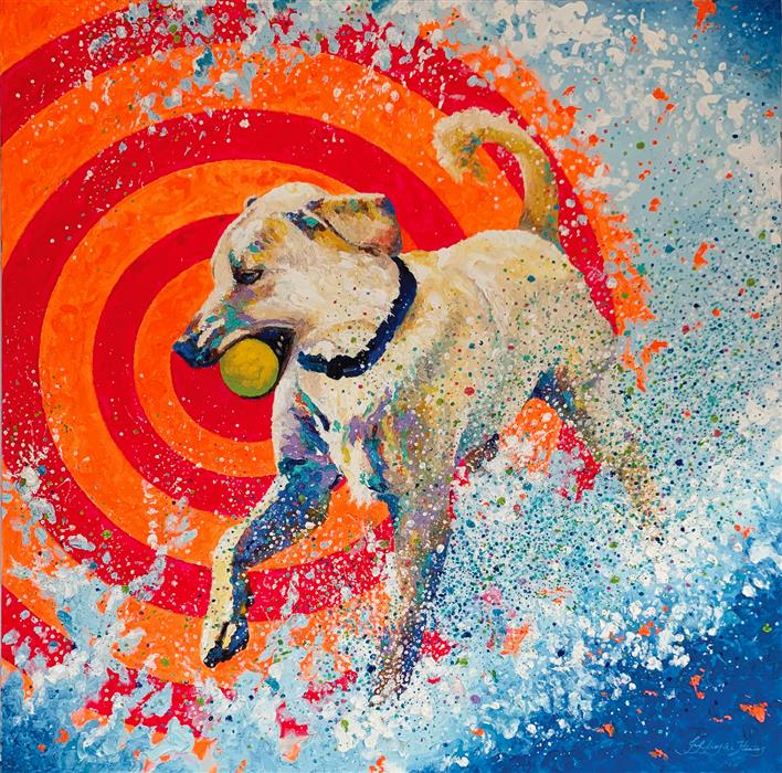 Original art for sale at UGallery.com | Pop Dog by Jeff Fleming | $2,300 | oil painting | 36' h x 36' w | ..\art\oil-painting-Pop-Dog