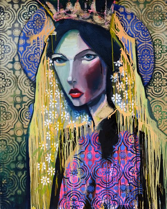 Original art for sale at UGallery.com | Decorated Queen by Scott Dykema | $7,500 | mixed media artwork | 60' h x 48' w | ..\art\mixed-media-artwork-Decorated-Queen