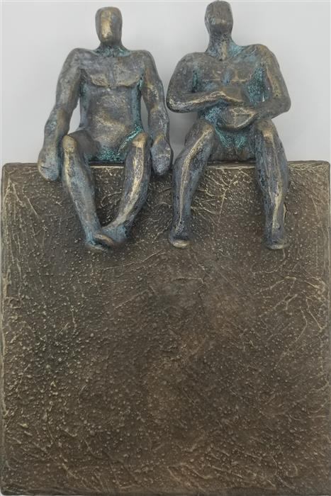 Original art for sale at UGallery.com | Peaceful Couple on Bronze 1/50 by Yelitza Diaz | $445 | mixed media artwork | 9' h x 6' w | ..\art\mixed-media-artwork-Peaceful-Couple-on-Bronze-1-50