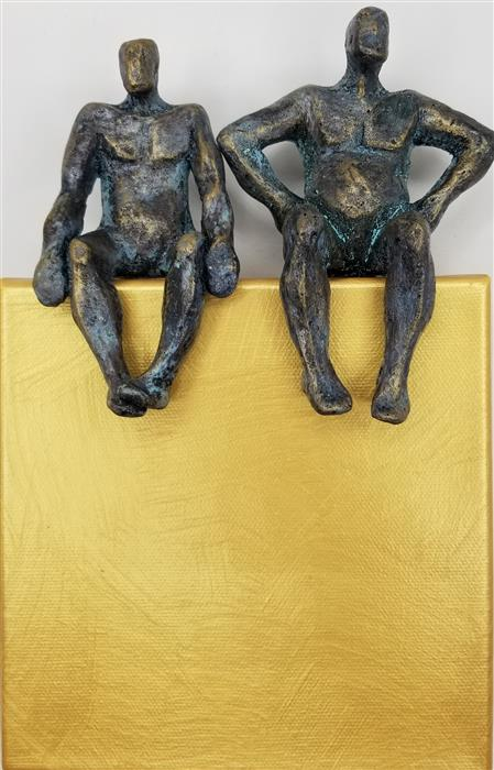 Original art for sale at UGallery.com | Couple on Gold 1/50 by Yelitza Diaz | $445 | mixed media artwork | 9' h x 6' w | ..\art\mixed-media-artwork-Couple-on-Gold-1-50