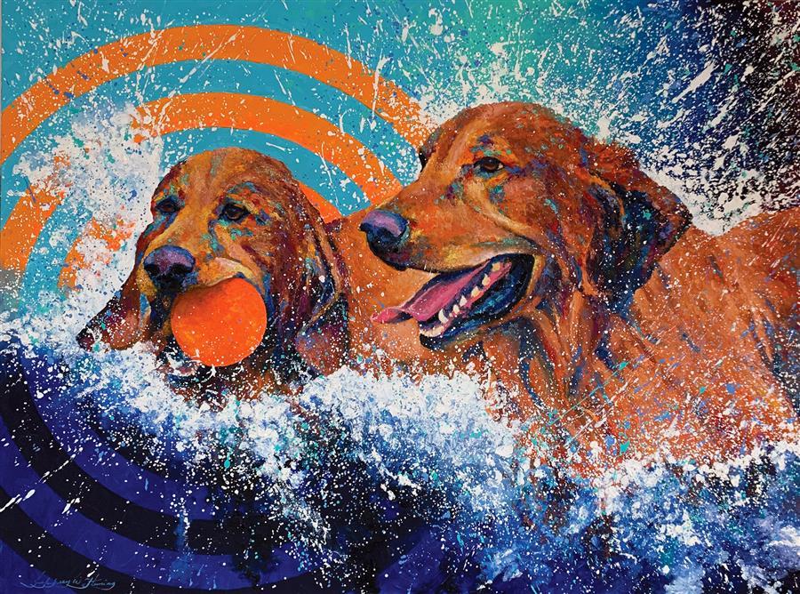 Original art for sale at UGallery.com | Splash Ball! by Jeff Fleming | $3,100 | oil painting | 36' h x 48' w | ..\art\oil-painting-Splash-Ball