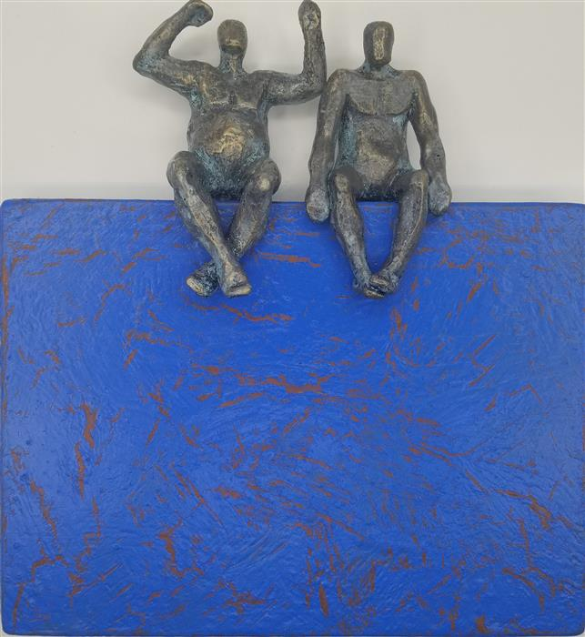 Original art for sale at UGallery.com | Peaceful Couple on Blue Base by Yelitza Diaz | $455 | mixed media artwork | 10' h x 11' w | ..\art\mixed-media-artwork-Peaceful-Couple-on-Blue-Base