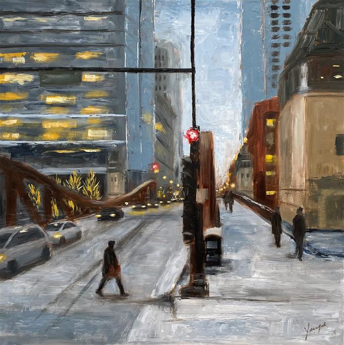 Original art for sale at UGallery.com | Winter, LaSalle St, #1 by Yangzi Xu | $400 | oil painting | 12' h x 12' w | ..\art\oil-painting-Winter-LaSalle-St-1