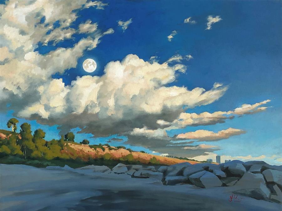 Original art for sale at UGallery.com | Evening over Palisades Park by Jesse Aldana | $950 | oil painting | 18' h x 24' w | ..\art\oil-painting-Evening-over-Palisades-Park