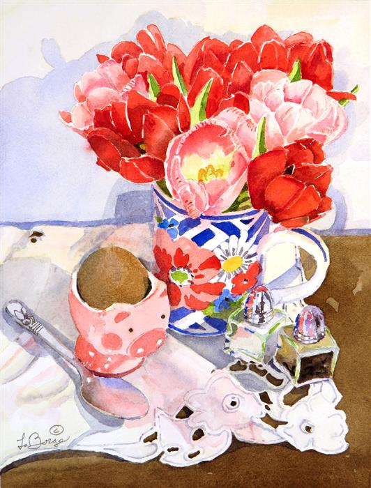Original art for sale at UGallery.com | Nosh by Nancy LaBerge Muren | $375 | watercolor painting | 15.5' h x 12' w | ..\art\watercolor-painting-Nosh