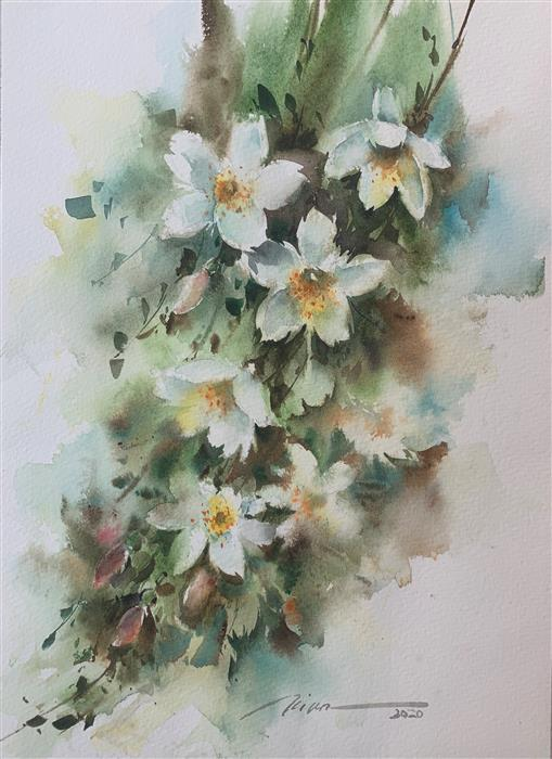 Original art for sale at UGallery.com | My Beloved Jasmines by Fatemeh Kian | $425 | watercolor painting | 14.5' h x 10.5' w | ..\art\watercolor-painting-My-Beloved-Jasmines