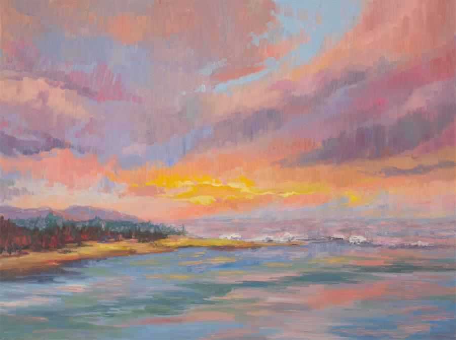 Original art for sale at UGallery.com | South Jetty Sky by Karen E Lewis | $3,075 | oil painting | 30' h x 40' w | ..\art\oil-painting-South-Jetty-Sky