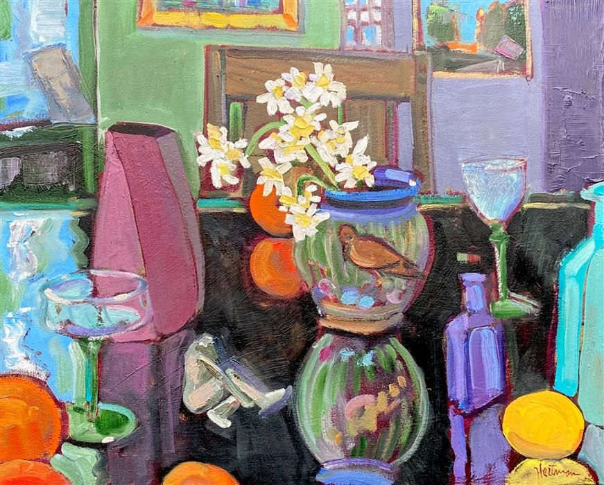 Original art for sale at UGallery.com | Still Life Interior with Daffodils by James Hartman | $1,375 | oil painting | 22.75' h x 28.25' w | ..\art\oil-painting-Still-Life-Interior-with-Daffodils