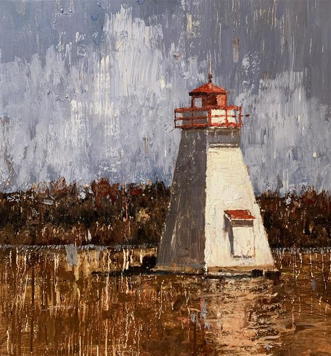 Original art for sale at UGallery.com | Lighthouse 15 by Eric Alfaro | $1,200 | oil painting | 25' h x 27' w | ..\art\oil-painting-Lighthouse-15