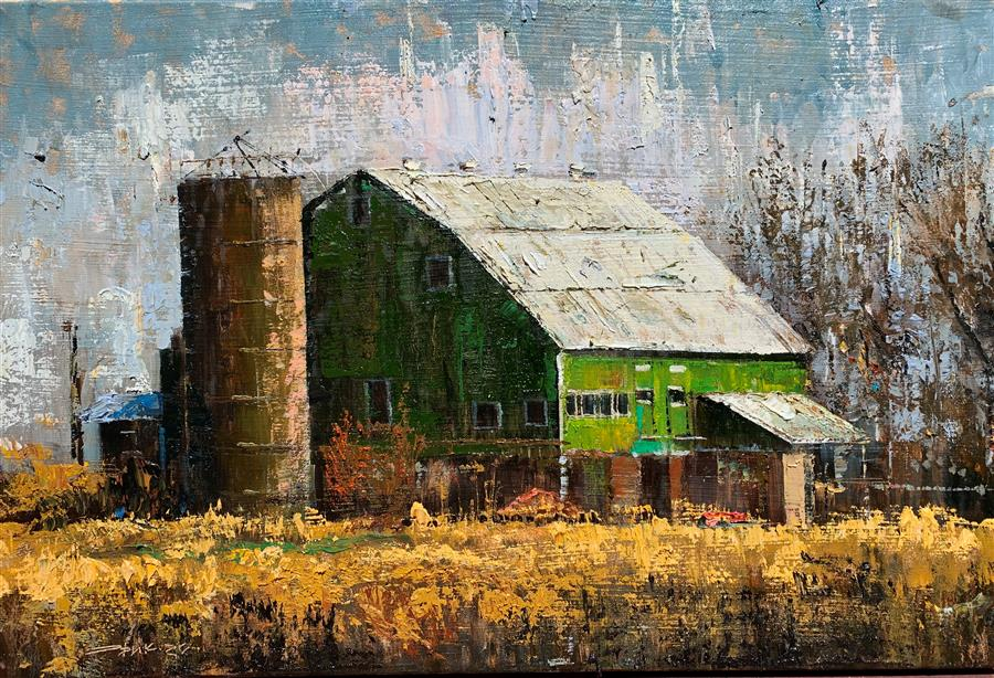 Original art for sale at UGallery.com | Green Barn by Eric Alfaro | $975 | oil painting | 20' h x 30' w | ..\art\oil-painting-Green-Barn