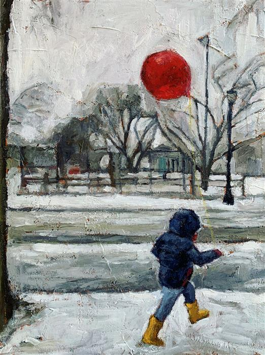 Original art for sale at UGallery.com | Snow Day by Nava Lundy | $950 | acrylic painting | 24' h x 18' w | ..\art\acrylic-painting-Snow-Day-70541