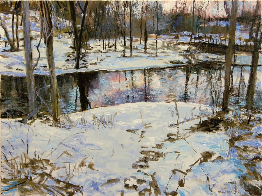 Original art for sale at UGallery.com | Early Morning at Beaver Brook by Onelio Marrero | $1,125 | oil painting | 18' h x 24' w | ..\art\oil-painting-Early-Morning-at-Beaver-Brook