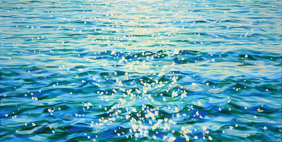 Original art for sale at UGallery.com | Fabulous Gentle Sea by Iryna Kastsova | $1,350 | acrylic painting | 23' h x 47' w | ..\art\acrylic-painting-Fabulous-Gentle-Sea